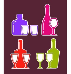 colorful set with alcohol bottles and glasses vector image