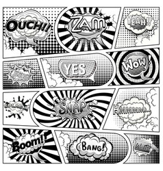 comic book black and white page template vector image