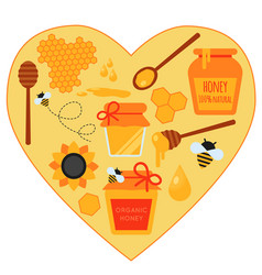 concept heart set of honey vector image