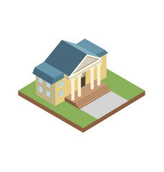 Courthouse building isometric 3d elements vector