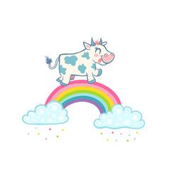 Cow on rainbow vector