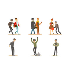 criminals and robbers characters set pickpockets vector image