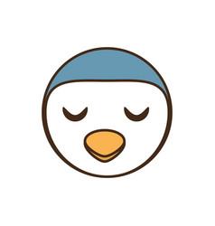 Cute penguin face kawaii style vector