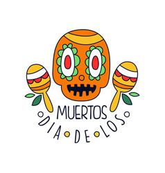 dia de los muertos logo mexican day dead vector image
