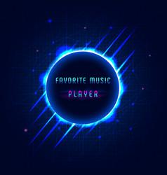 Digital sound equalizer of circle on dark blue vector