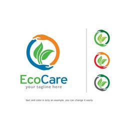 Eco care logo template design vector