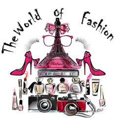 eifel tower shoes lipsticks perfumes and cameras vector image