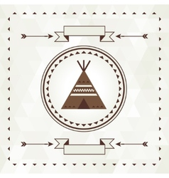 Ethnic background with wigwam in navajo design vector