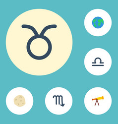 Flat icons bull scales zodiac sign and other vector