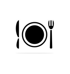 fork cutlery and plate icon concept vector image