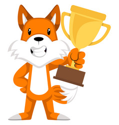 Fox with trophy on white background vector
