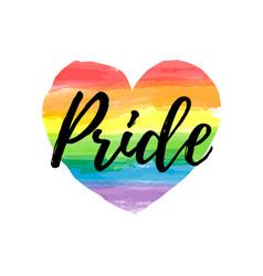 Gay pride lettering on a watercolor rainbow heart vector