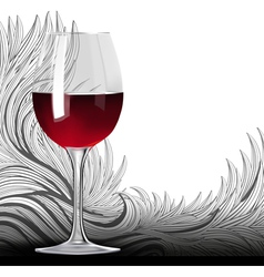 glass red wine on floral background vector image