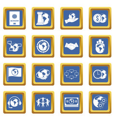 Global connections icons set blue vector