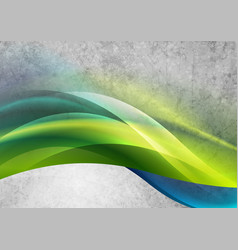 glowing green blue waves on grey grunge background vector image