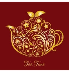 Gold Floral Ornamental Teapot Over Red vector