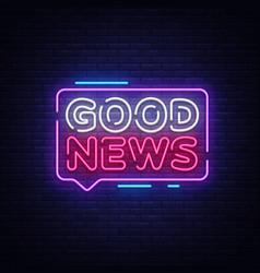 good news neon sign news design vector image