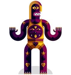 Graphic weird beast anthropomorphic char vector