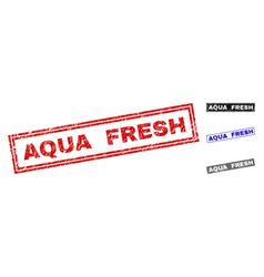 grunge aqua fresh textured rectangle stamps vector image