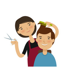 hairstylist cutting hair men s hairstyle beauty vector image