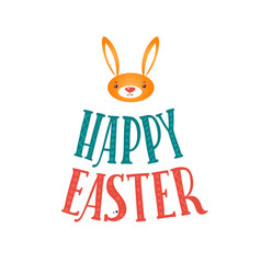 happy easter greeting card lettering and bunny vector image