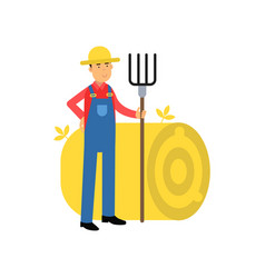 happy farmer cartoon character in overalls vector image