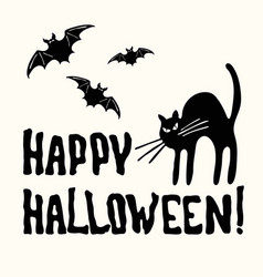 happy halloween title cat and bat on the white vector image