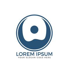 happy human round logo design vector image