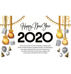 Happy new year 2020 black number with party vector