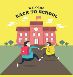happy students running to school vector image
