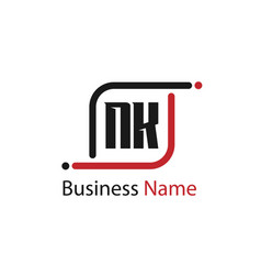 initial letter nk logo template design vector image