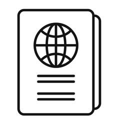 International passport icon outline style vector
