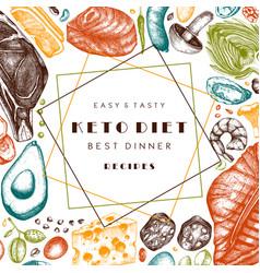 Ketogenic diet template hand drawn organic food vector
