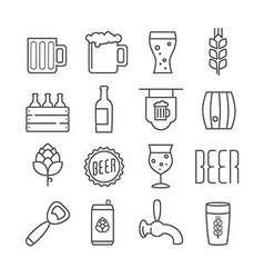 linear beer icons vector image