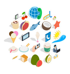 luncheon icons set isometric style vector image
