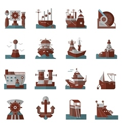 Nautical flat color icons vector