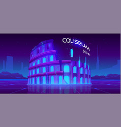 Neon coliseum on retro sci-fi glowing background vector