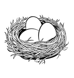 Nest with golden egg coloring vector