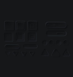 neumorphic black buttons for dark ui application vector image