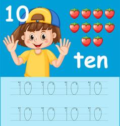 Number ten tracing worksheets vector