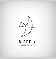 one line bird logo flying silhouette vector image