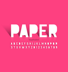 Paper cut font alphabet letters and numbers vector