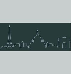 paris single line skyline vector image
