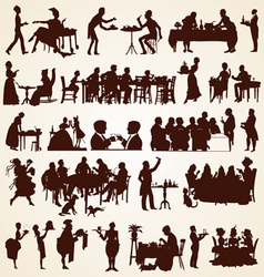 People silhouettes eating dining vector
