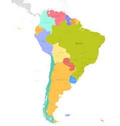 political south america map isolated on white vector image
