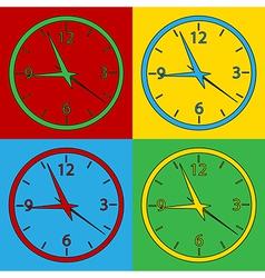Pop art clock icons vector image