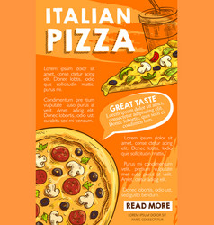 Poster of iltalian pizza sketch fast food vector