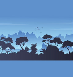 Rain forest scenery silhouette style vector