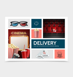 Realistic cinematography elements composition vector