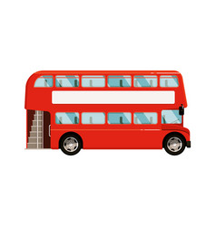 red double-decker bus icon on white background vector image